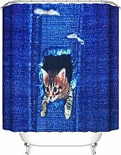 ZZZdz Cat With His Head Out. Shower Curtain: 180 X