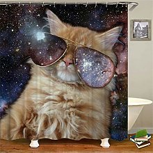 ZZZdz Colored Starry Sky. Cute Cat. Shower