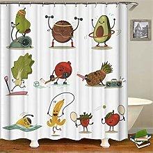 ZZZdz Cute Vegetables. Motion. Shower Curtain: 180