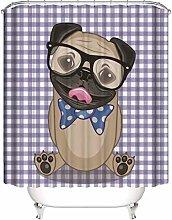 ZZZdz Dog With Glasses. Shower Curtain: 180 X 180