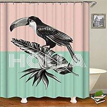 ZZZdz Grey Banana Leaf Toucan. Shower Curtain: 180