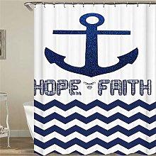 ZZZdz Hope For Faith. Blue Anchor. Shower Curtain: