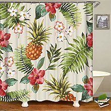 ZZZdz Pineapple Green Leaf Flower Shower Curtain: