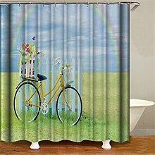 ZZZdz Rainbow Grass Bike. Shower Curtain: 180 X