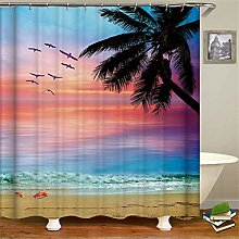 ZZZdz Sunset Beach Coconut Tree Shells. Shower