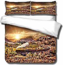 ZZZXX Single Duvet Cover 135x200 Sunset Train Easy